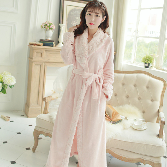 a3341ee232 Women s Robe Bathrobe Winter Long Collar Robe Soft Warm Bathrobe Coral  Velvet Cloth Bath Robe Homewear