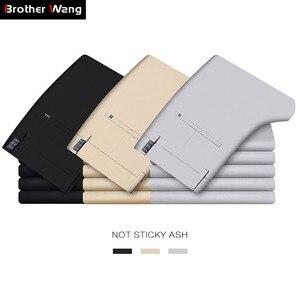 Image 1 - 2020 letnie nowe męskie Khaki cienkie spodnie na co dzień Business Fashion Solid Color wysokiej jakości proste spodnie bawełniane męskie marki