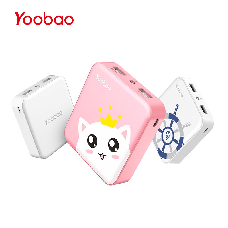 Yoobao M4 10400mAh Phone Charger Dual USB Output Portable Device Charger Mini External Battery with LED
