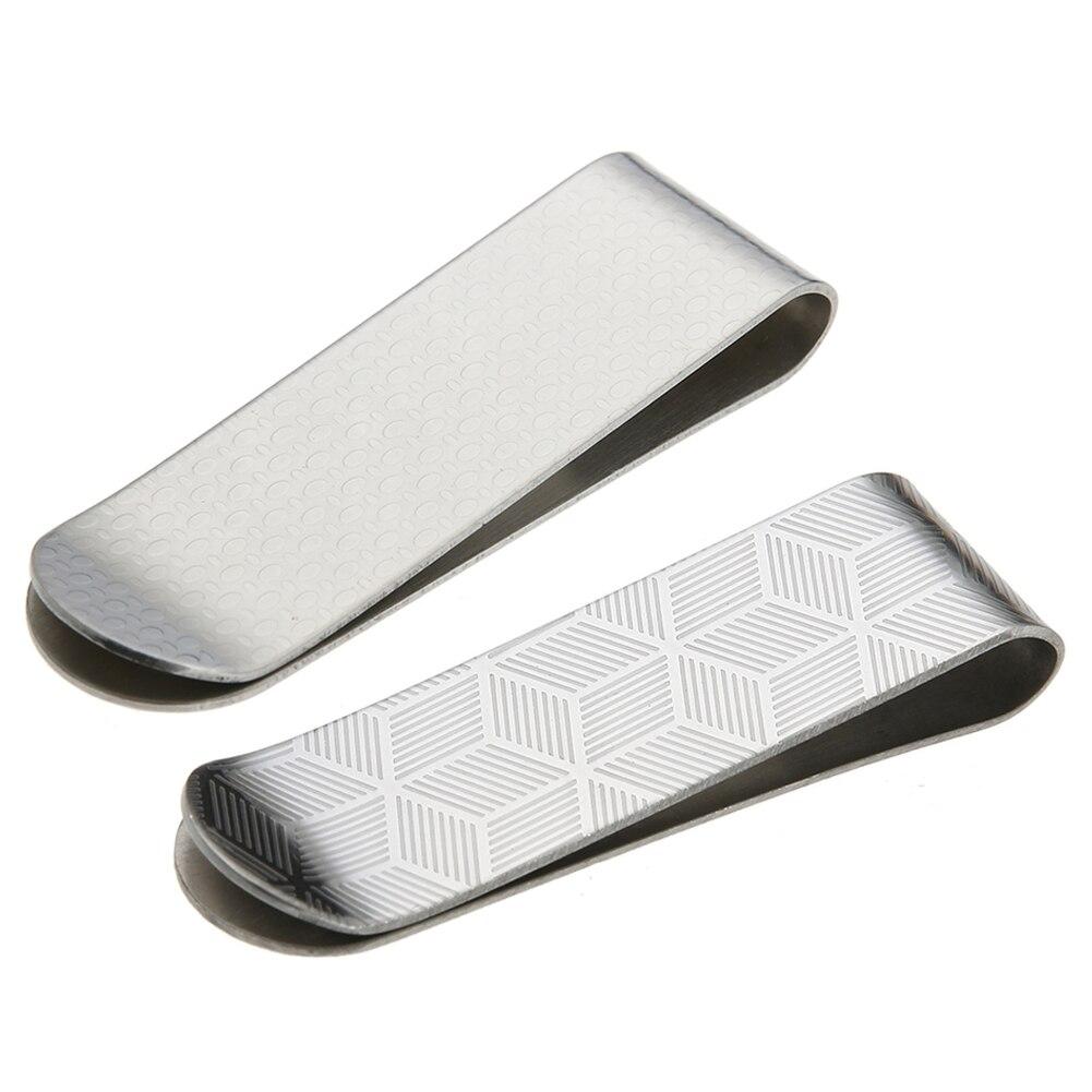 Fashion Metal Stainless Steel Men Stripe Print Money Clips Brass Folder Card ID Case Clip
