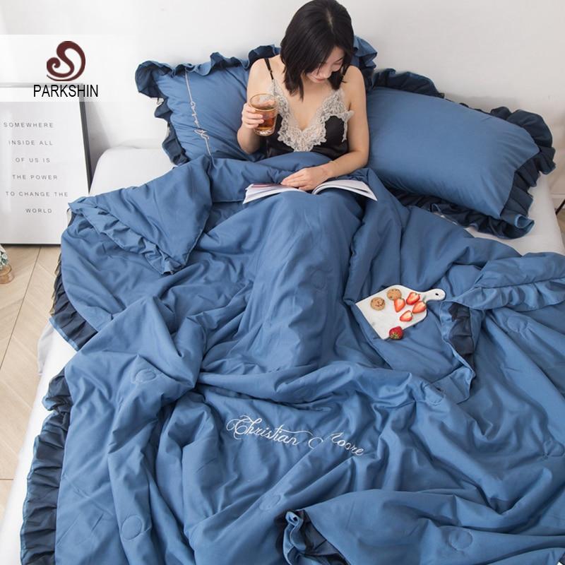Parkshin 1PCS Quilt Bedding Comforter Home Textiles Double Queen King Lace Decorative Bedding Blanket Filling Summer Quilt