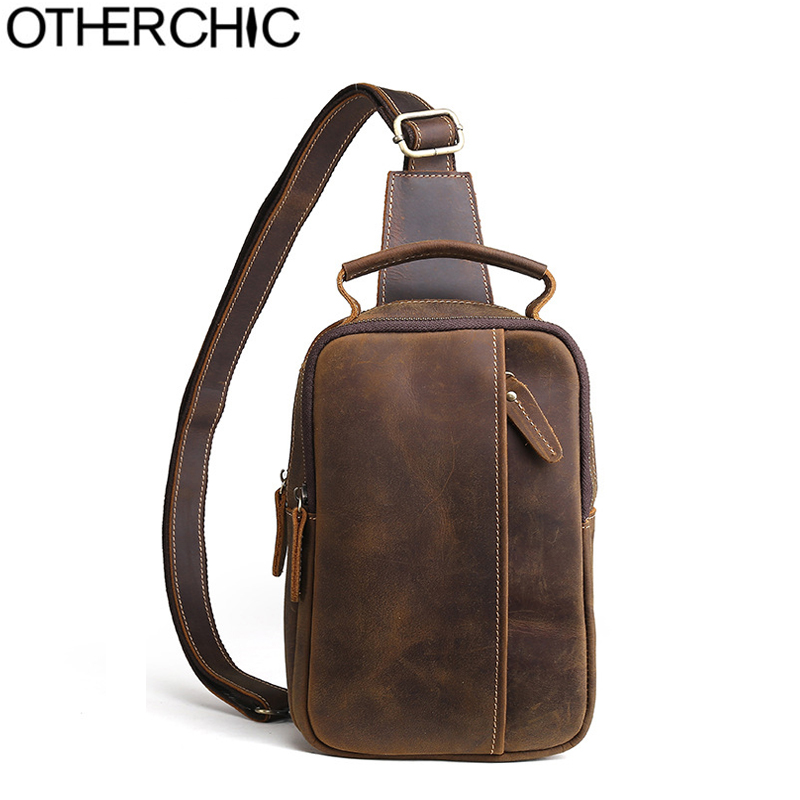 OTHERCHIC New Crazy Horse Genuine Leather Vintage Crossbody Bags Men Casual Retro Chest Bag Men Messenger Travel Bags L-7N07-57 niuboa new casual leather shoulder bags genuine leather men chest bag high quality retro crazy horse small messenger bag for man