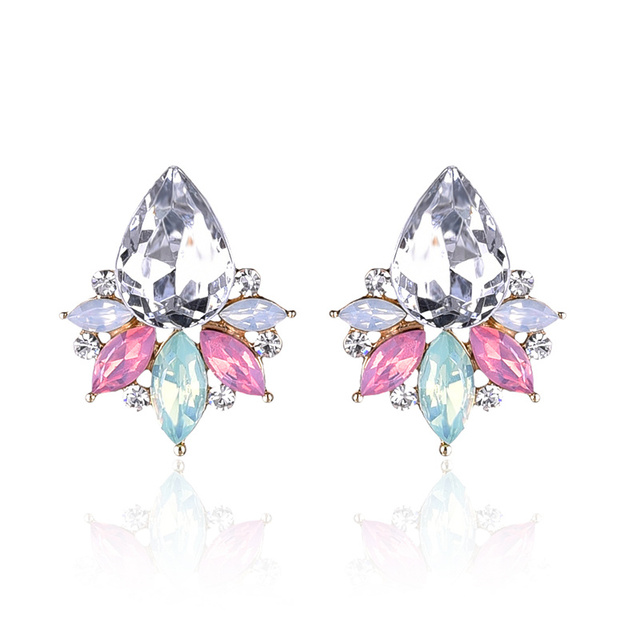 aca912058 LUBOV New Fashion Acrylic Crystal Stone Stud Earrings Colorful Rhinestone  Women Piercing Earrings Birthday Gift Party Jewelry