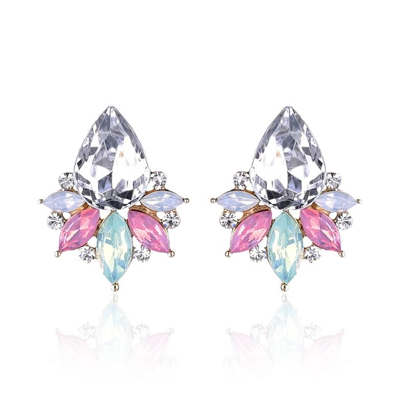 LUBOV New Fashion Acrylic Crystal Stone Stud Earrins