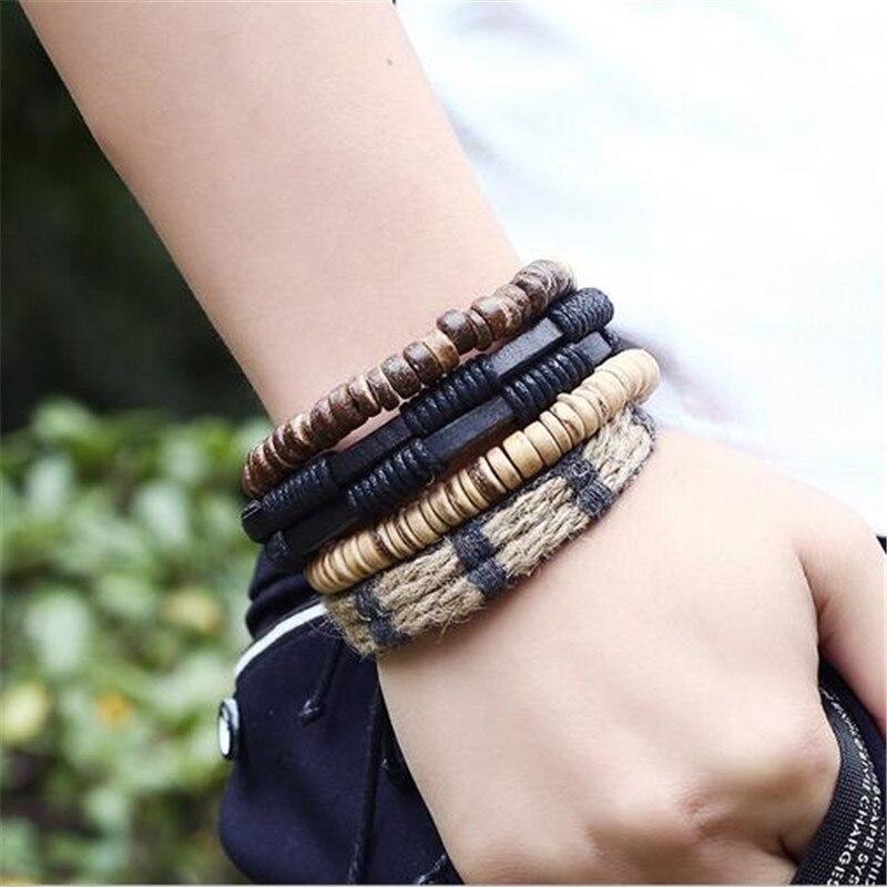 4 Teil/satz Männer Schmuck Einstellbare Schwarz Leder Armbänder Männer Perlen Wrap Viking Armband Multilayer Charme Armband Diy Schmuck Strang-armbänder
