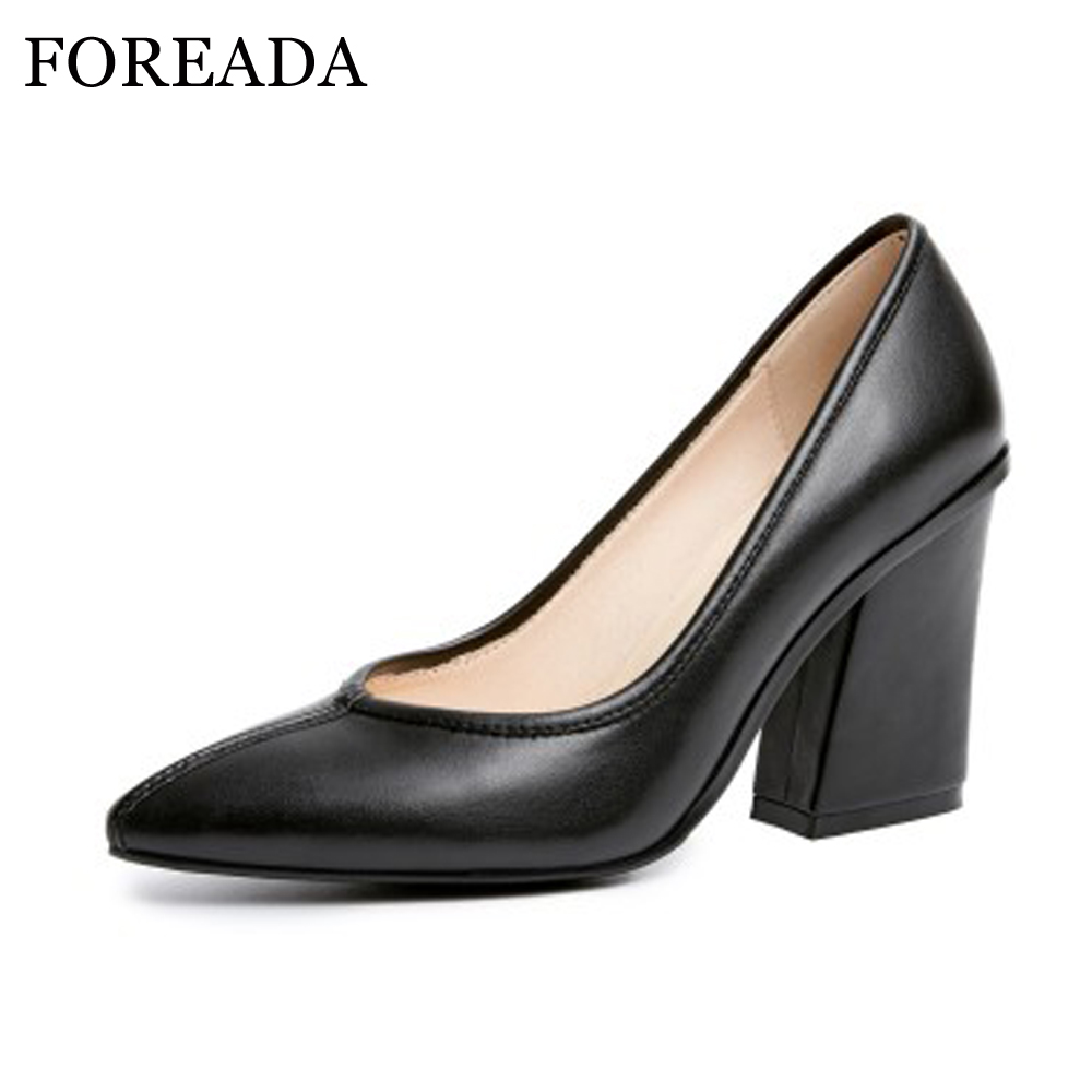 FOREADA Genuine Leather Shoes Women Pumps High Heels Pointed Toe Thick Office Pumps Real Leather Shoes Pink Black Large Size 42 pearl high heels shoes thick green women strange suede abnormal catwalk genuine leather pointed toe strap mary jane lace up