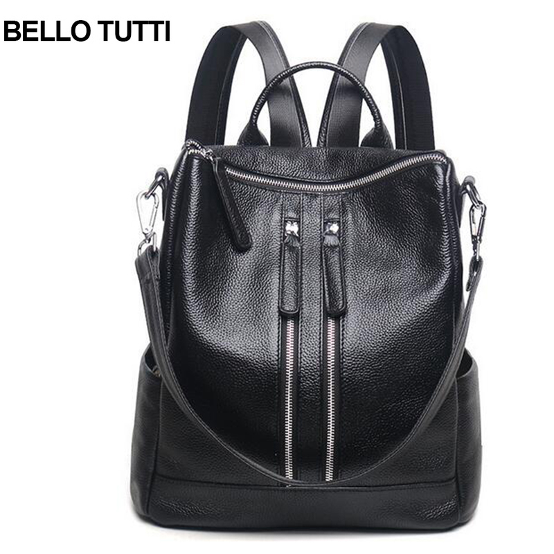 BELLO TUTTI Women Backpack Genuine Leather School Backpacks For Teenage Girls Cow Shoulder Bag Large Capacity Travel Bags women s backpacks genuine leather female backpack women school bag for girls large capacity shoulder travel mochila