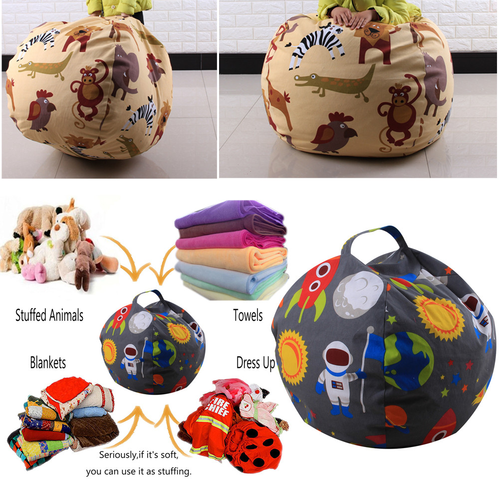 Kids Stuffed Animal Plush Toy Storage Bean Bag Soft Pouch Stripe Fabric Chair #30