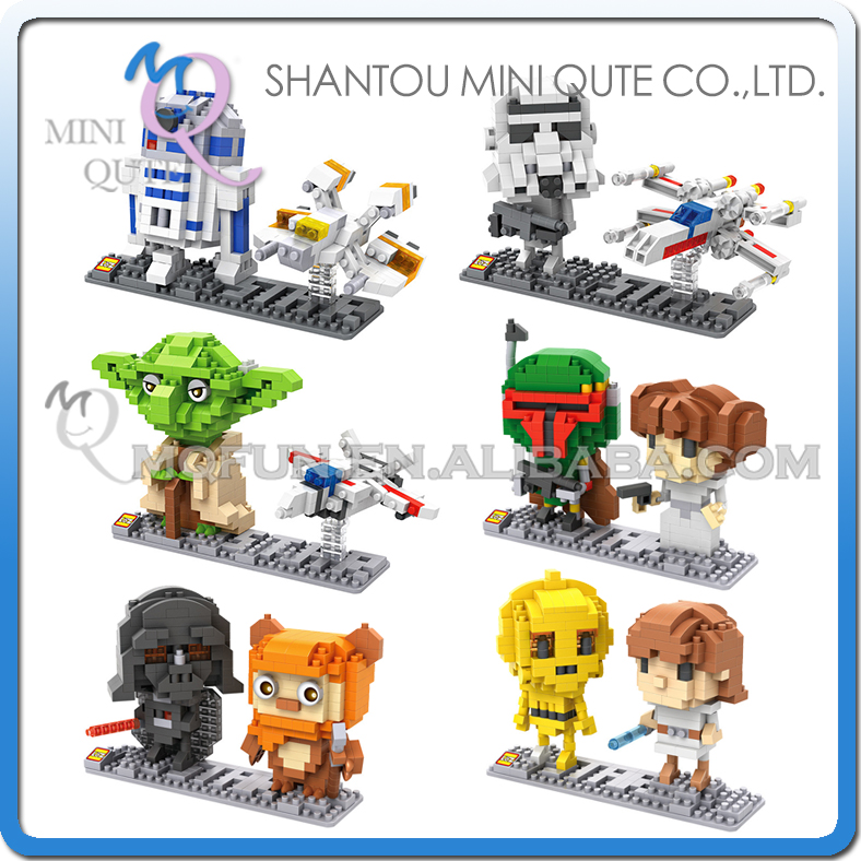 6pcs/lot Mini Qute LOZ kawaii Star War R2D2 robot Yoda X-Wing Starfighter Darth Vader plastic building blocks educational toy