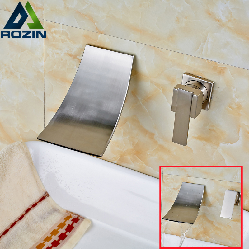 Good Quality Bathroom Waterfall Basin Sink Mixer Faucet Bathroom In-wall Single Lever Washing Basin Mixer Taps unique single top lever waterfall basin mixer faucet gold color basin sink taps