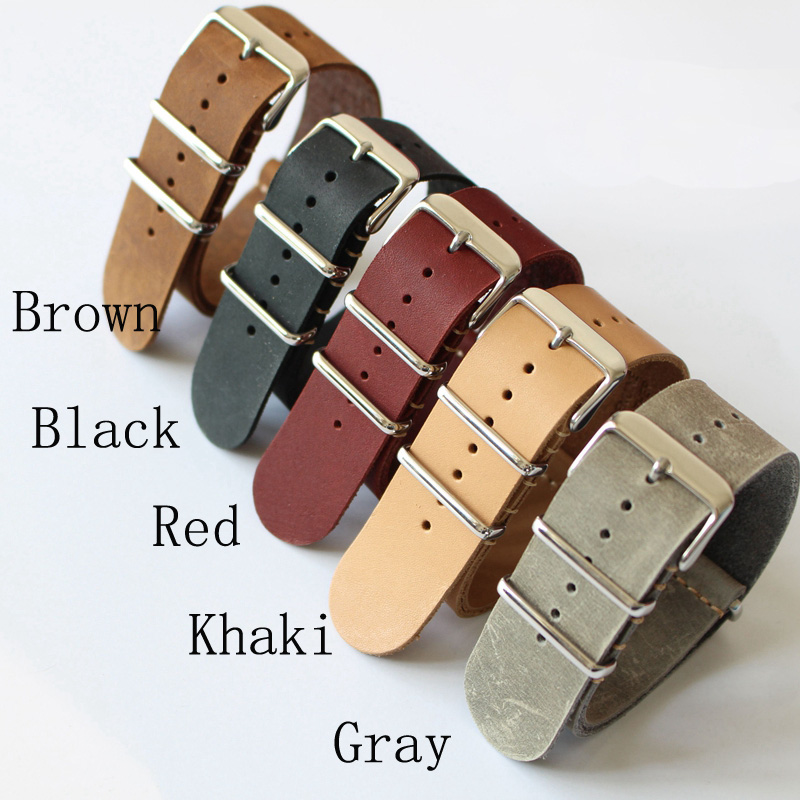 Special Offer Classic 20mm 22mm 24mm NATO Crazy Horse Leather Watchband ,NATO Mens Women Fashion Leather Watch Strap Bracelet 20 22 24 26mm black crazy horse genuine leather watchband fashion nato watch strap belt with silver or black buckle clasp