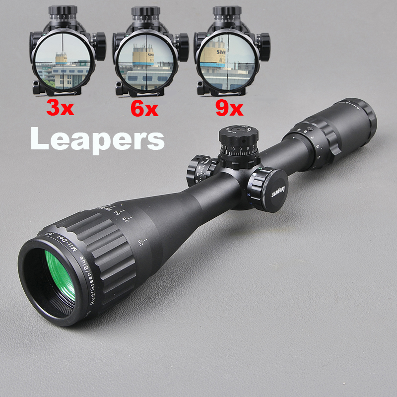 LEAPERS 3-9X40 Riflescope Tactical Optical Rifle Scope Red Green And Blue Dot Sight Illuminated Retical Sight For Hunting Scope 3 15x42 tactical sight red green illuminated hunting riflescope airsoft rifle scope military army scope hunting accessories page 10