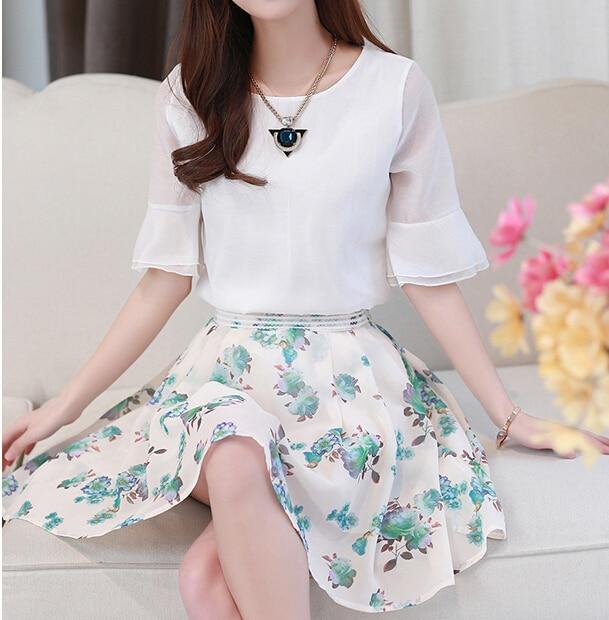 Korean Plus Size Summer Suit Women Clothing 2 Piece Set Print Chiffon Skirt + Petal Sleeve Chiffon Tops Women Set