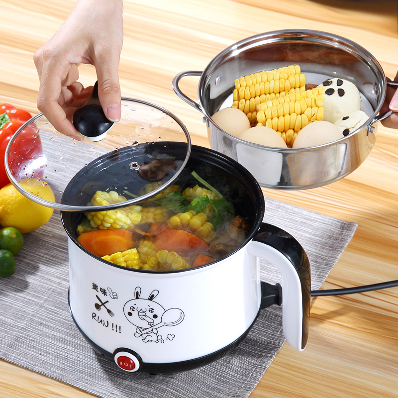 Image 5 - 220V Mini Multifunction Electric Cooking Machine Single/Double Layer Available Hot Pot Multi Electric Rice Cooker EU/UK/AU/US-in Multicookers from Home Appliances