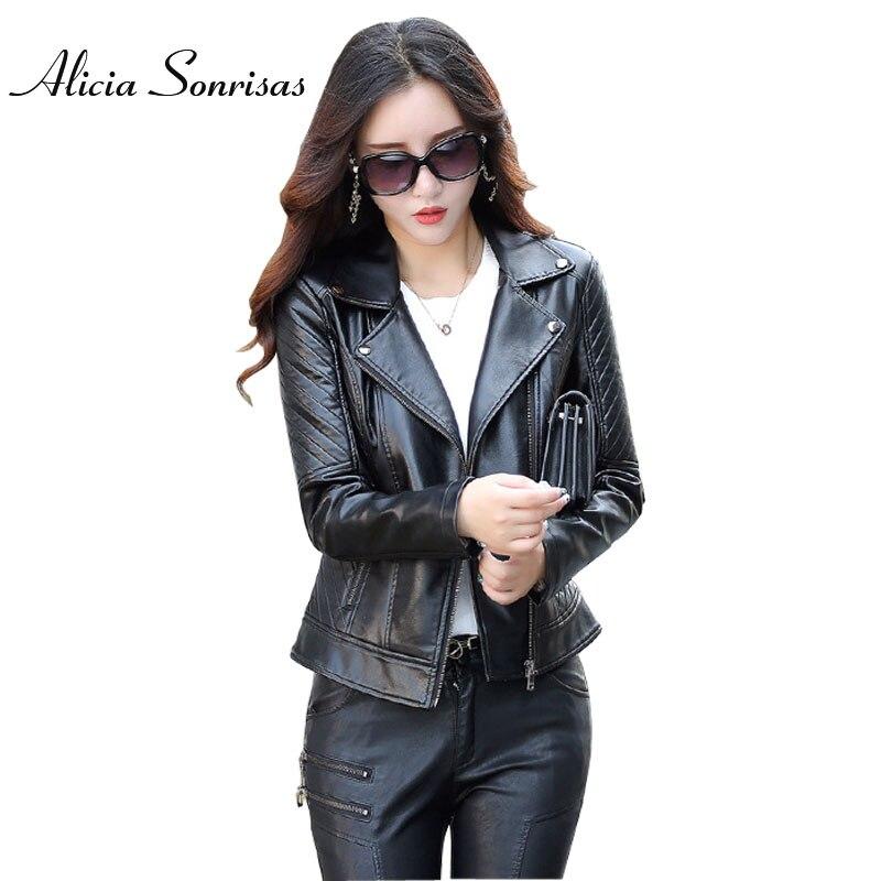 Autumn   Leather   Jacket Lady Washed PU Biker Long Sleeve Plus Size 4XL 5XL Red Motorcycle Coat Jaqueta Feminina Couro KF6728