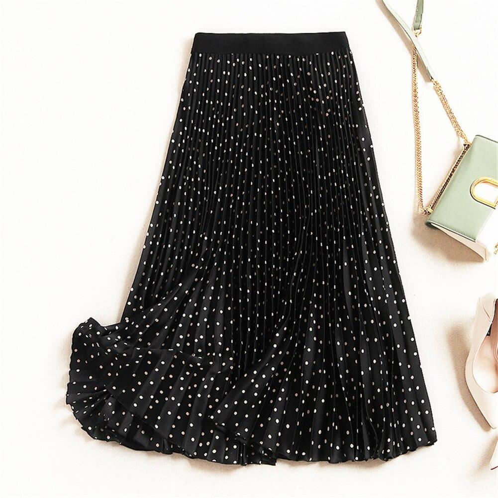 YJSFG HOUSE Polka Dot Pleated Skirt 2019 Velvet High Waisted Long Skirts Womens Maxi Skirt Women School Skirt Beach Female Skirt