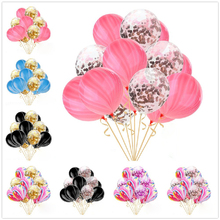 10pcs/lot 12inch birthday balloons Agate marble clear Latex Balloons gold confetti Birthday wedding decoration Helium Supplies