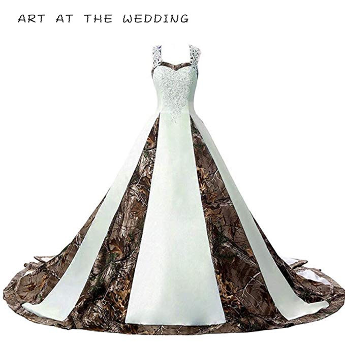 Camouflage Wedding Dresses For Bride Satin Camo Long Formal Gown For Wedding White 2019