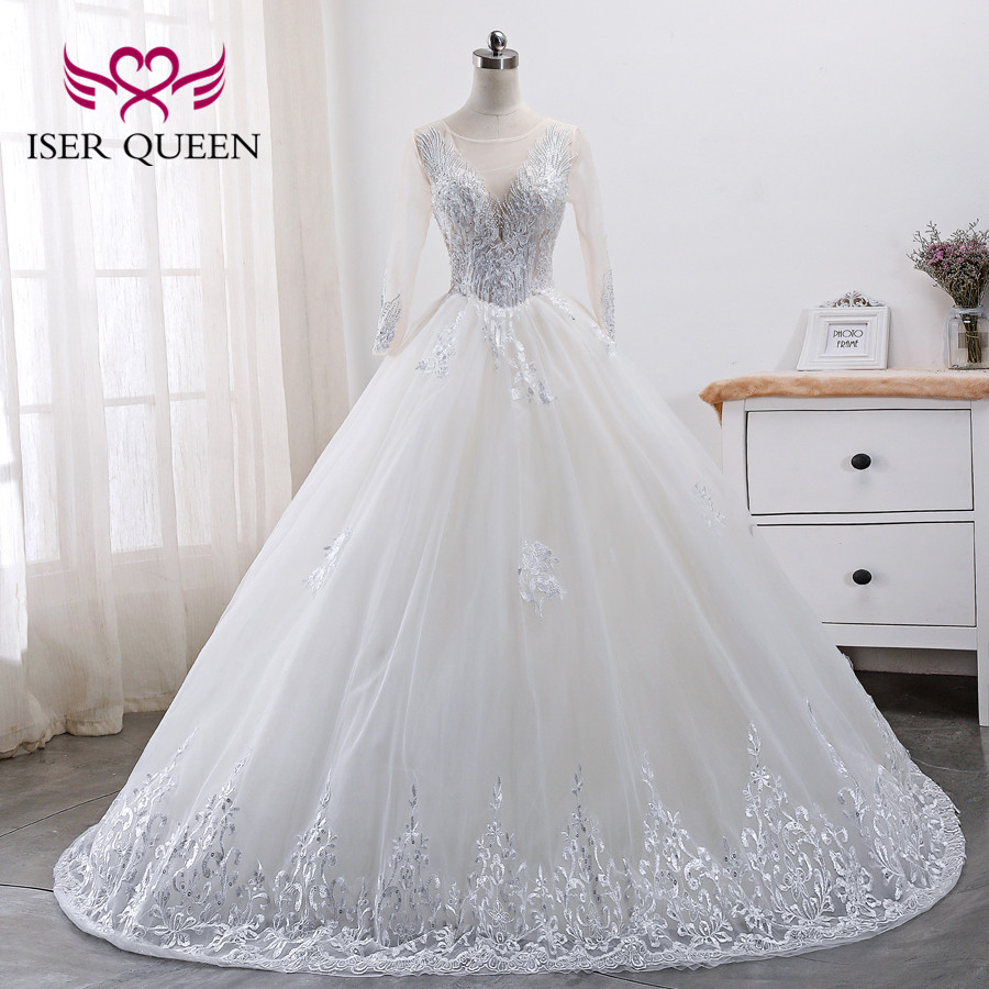 Long Illusion Sleeve Wedding Dress 2019 Fashion New A Line Bride Dress  Lace Appliques Beading Wedding Gowns  WX0007