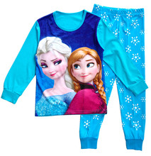 2016 Brand Cartoon Cotton elsa pajamas Kids Baby Girls Pajamas Set Spring Autumn Sleepwear Children pijama infantil