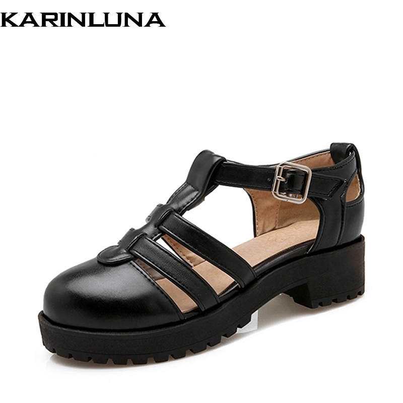 KARINLUNA 2018 Summer Sweet Platform T-Strap Sandals Woman Lovely Fashion Buckle Med Square Heel Women Shoes xiaying smile summer woman sandals fashion women pumps square cover heel buckle strap fashion casual concise student women shoes