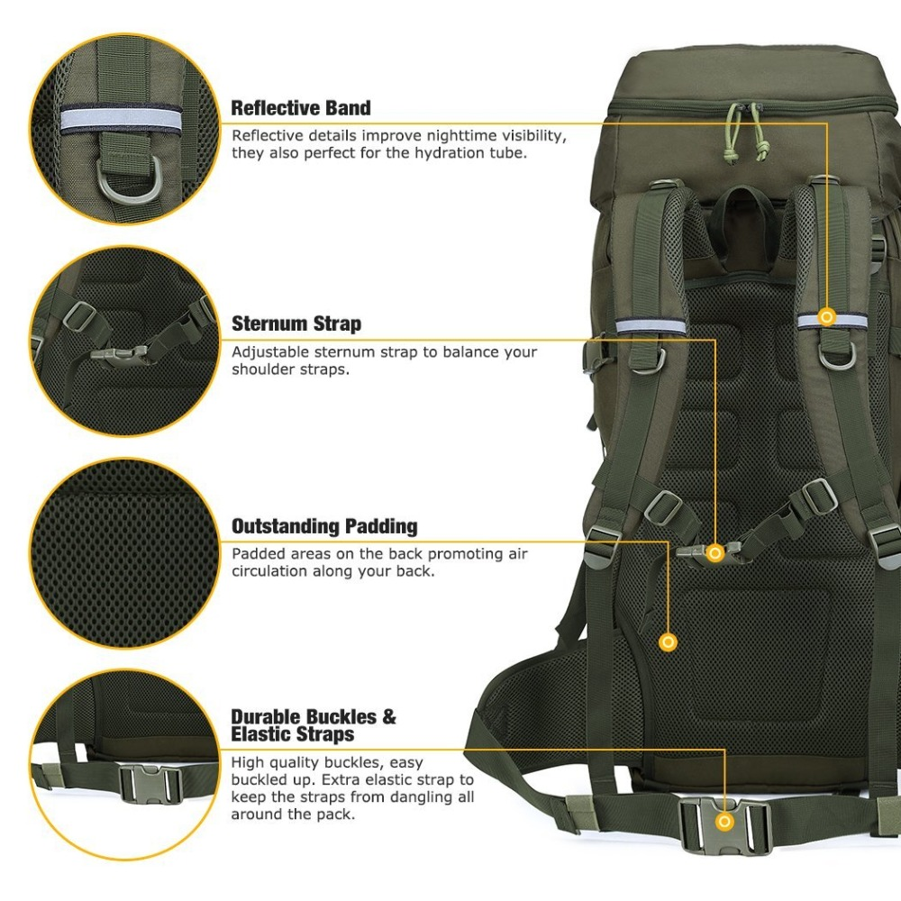 Mountaintop 50L Internal Frame Tactical Backpack 600D Military Molle ...