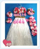 60cm Hawaiian Hula Grass Skirt Flower White Party Dress Beach Dance 1set/lot Free Shipping