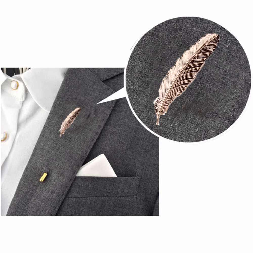 67366d359 2018 Gold Feather Suit Women Broaches Version Leaves Hijab Pins Wedding  Brooch Men Brooches Pins Flower