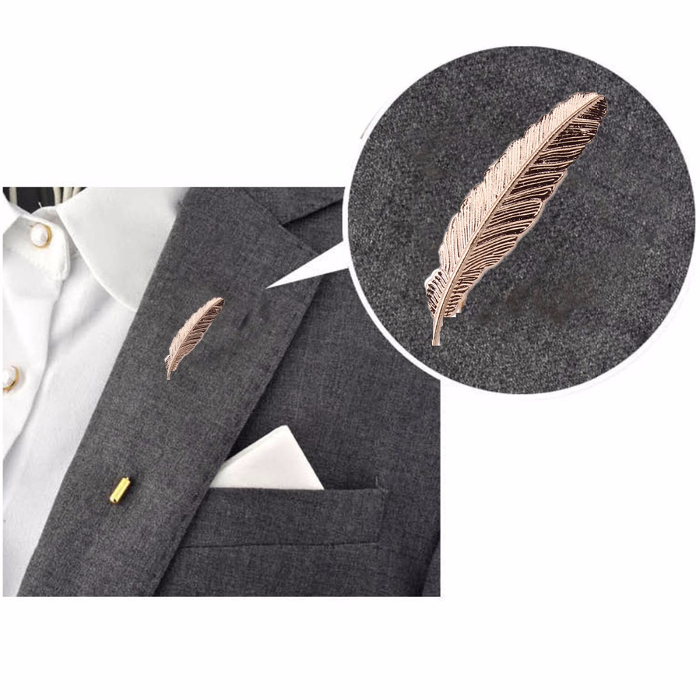2018 Gold Feather Suit Women Broaches Version Leaves Hijab Pins Wedding Brooch Men Brooches Pins Flower Lapel Pins For Women