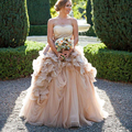 2016 Country Western Wedding Dresses Champagne Strapless Ruffled Ball Gown Bridal Gowns Robe De Mariage vestidos de noche
