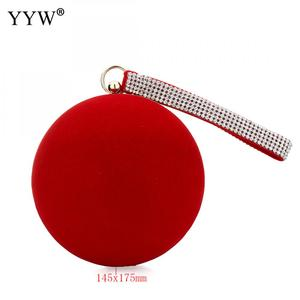 Image 5 - YYW Unique Velvet Iron On Lady Handbag Red Shoulder Clutch Bag Spherical Evening Bags Small Purse Chain Shoulder Bolsos Mujer