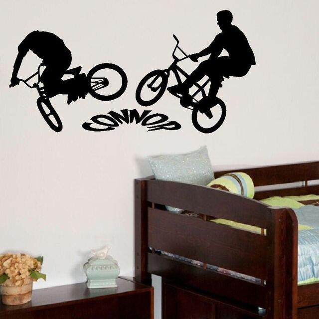 Personalised bmx sepeda besar anak anak kamar tidur dinding mural sticker graphic vinyl custom made