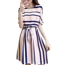 KLV Womens Half Sleeve Striped Midi Dress Round Neck Plus Size Elastic Waist Tie New