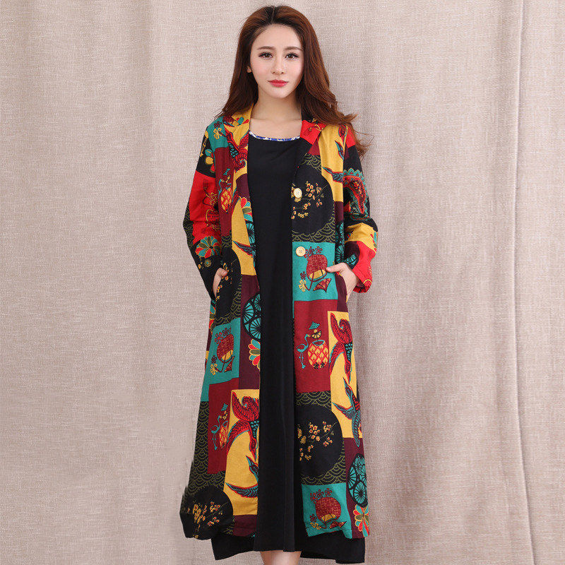2018 Spring Autumn New Cotton Linen Long   Trench   Coats Ethnic Style Loose Large Size Print Women's Cardigan Windbreaker Coat A278