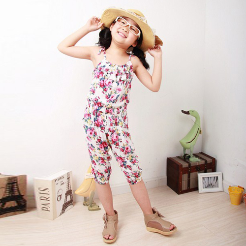 Newest Kids Baby Girl Jumpsuit Soft Clothing Summer Floral Pattern Sleeveless 2-8 Year