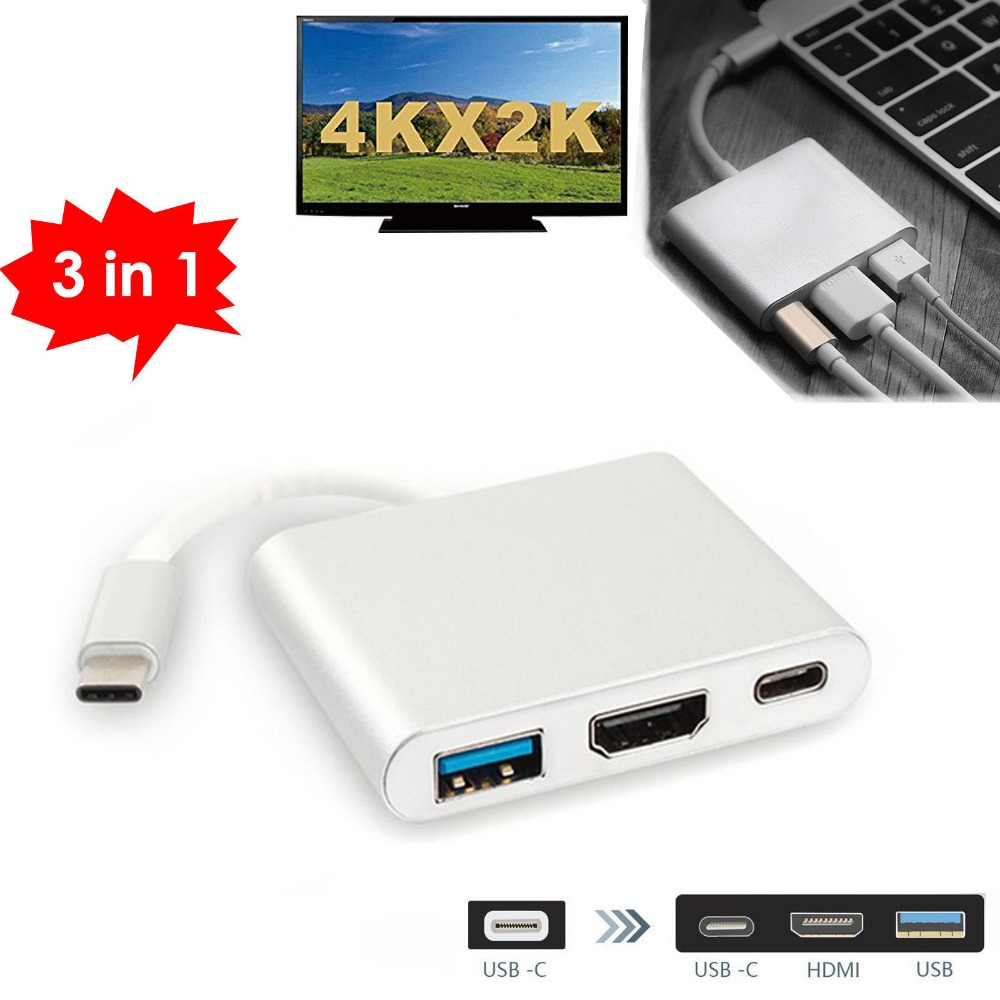 Type C to USB 3.0 / HDMI /Type C Female HUB Video Converter Adapter for Apple Macbook 12 Google Chromebook Pixel to TV Projector metal type c adapter male to usb 3 0 female converter type c to otg usb3 0 data cable for google macbook chromebook oneplus