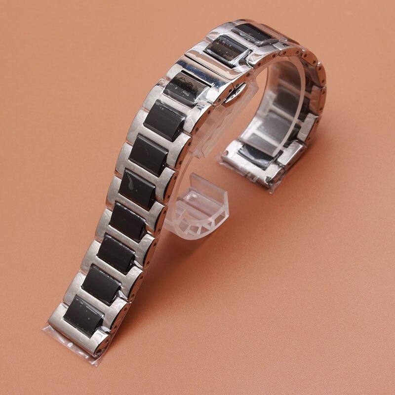 Correas de reloj de cerámica enlaces sólidos Pulseras de correa de reloj acero inoxidable plateado hebilla de mariposa despliegue para equipo S2 Gear S3 22mm