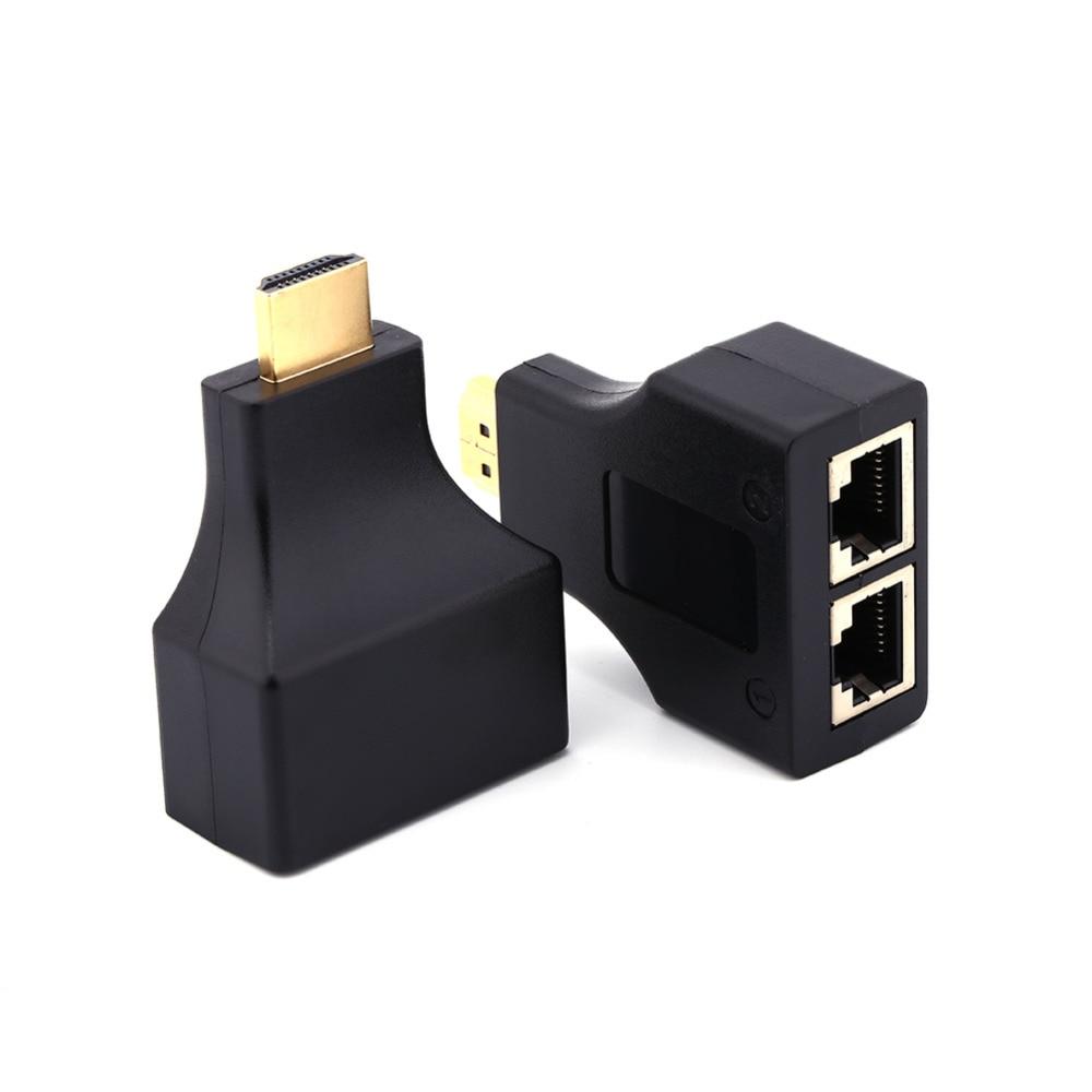 Черный Цвет для HD-DVD для ps3 hdmi к двойной Порты и разъёмы RJ45 сетевой кабель Extender адаптер по cat 5e/6 1080 P ...