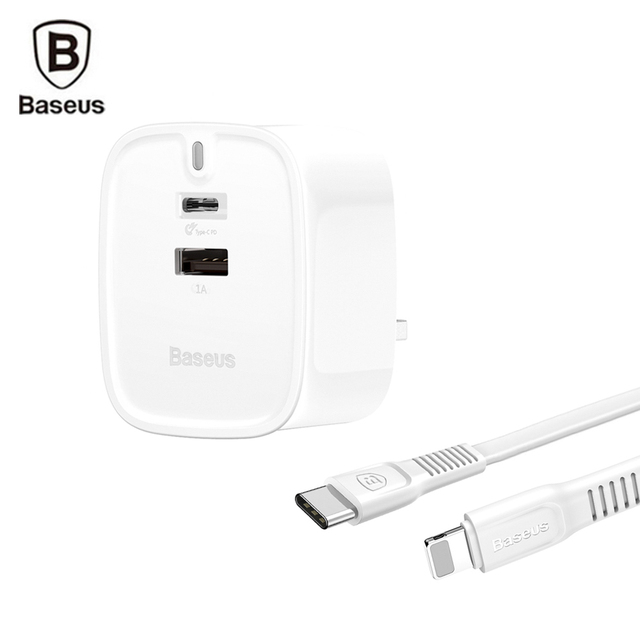 best sneakers c2fb7 61ef0 US $16.69 20% OFF Baseus USB PD Quick Charger Set for iPhone X 8 8 Plus UK  Plug Adapter Fast Charging Set Type C to 8 pin Lighting Cable-in Mobile ...