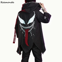 Movie Venom Cosplay Costumes Superhero Black Windbreaker Jackets Coat Pants For Men Boys Party Stage Halloween Clothes