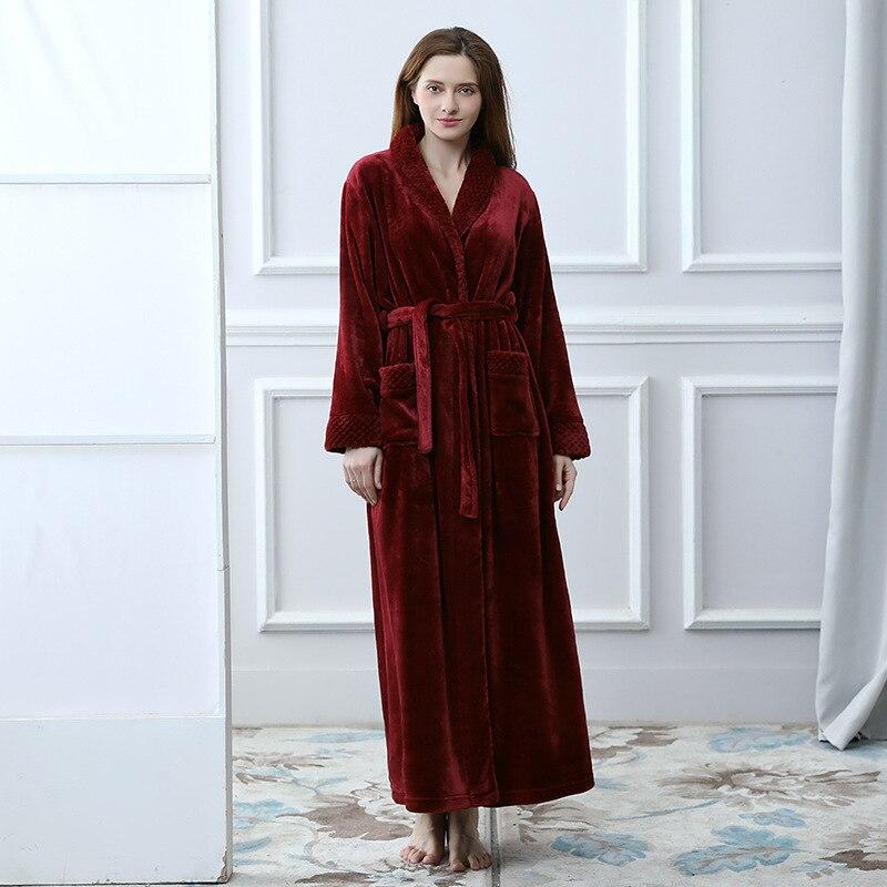 Vente chaude femmes longue épaisse hiver Super Robe de bain dames Kimono peignoir dame Robe de chambre corail polaire allonger Robe chaude
