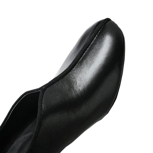 ESVEVA 2017 Square High Heel Women Pumps Mixed Color Genuine Leather OL Shoes Slip on Square Toe Pumps Wedding Shoes Size 34-39