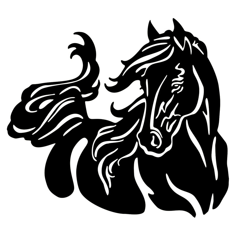 20*17.9CM Beautiful Horse Pattern Car Body Stickers Stylish Pet Equine Car Body Decals Black/Silver C9-0863