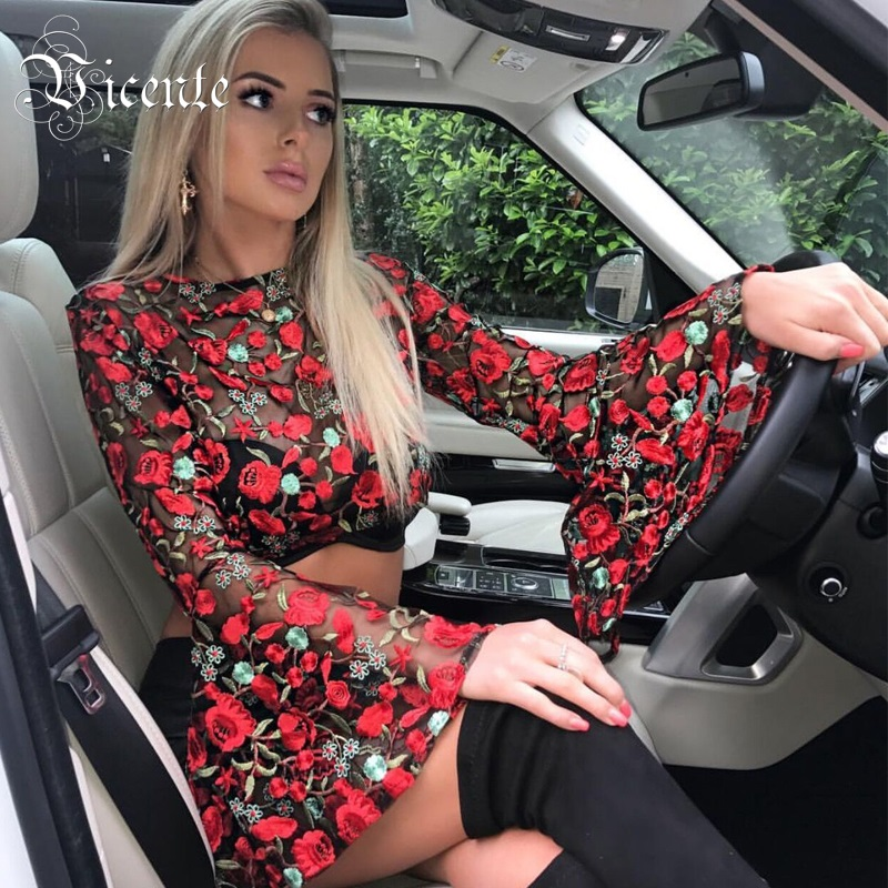 2018 New Free Shipping! Must Have Graceful Floral Embroidery Long Flared Sleeves Sexy Sheer Mesh Wholesale Women Party Crop Top