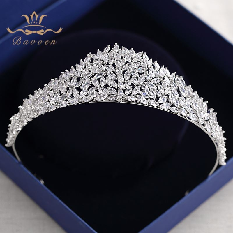 все цены на Bavoen Sparkling Zircon Wedding Tiaras Crowns European Leave Bridal Hairbands Crystal Brides Hair Accessories Prom Hair Jewelry онлайн