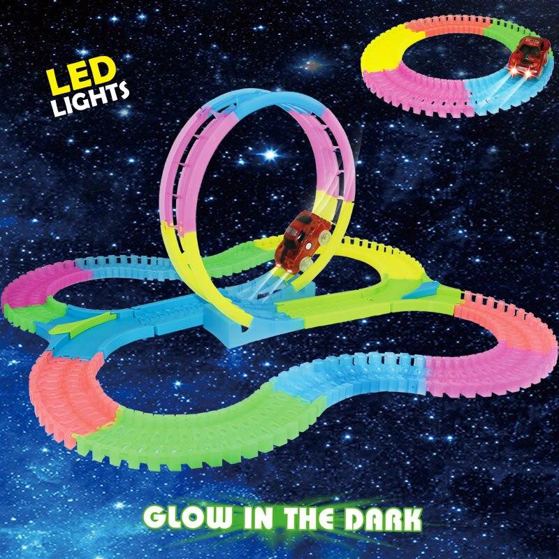 Racing Speedway Magie track Mini Auto 7,2 CM rennstrecke Leucht straße Slot Glow in The Dark Stunt eisenbahn flexible glowing spielzeug