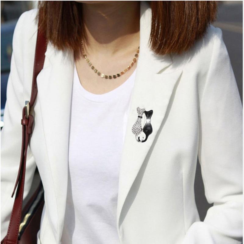 Mote Hvit Svart Dobbelkatt Brosjyrer Mujer Party Strass Harajuku - Mote smykker - Bilde 3
