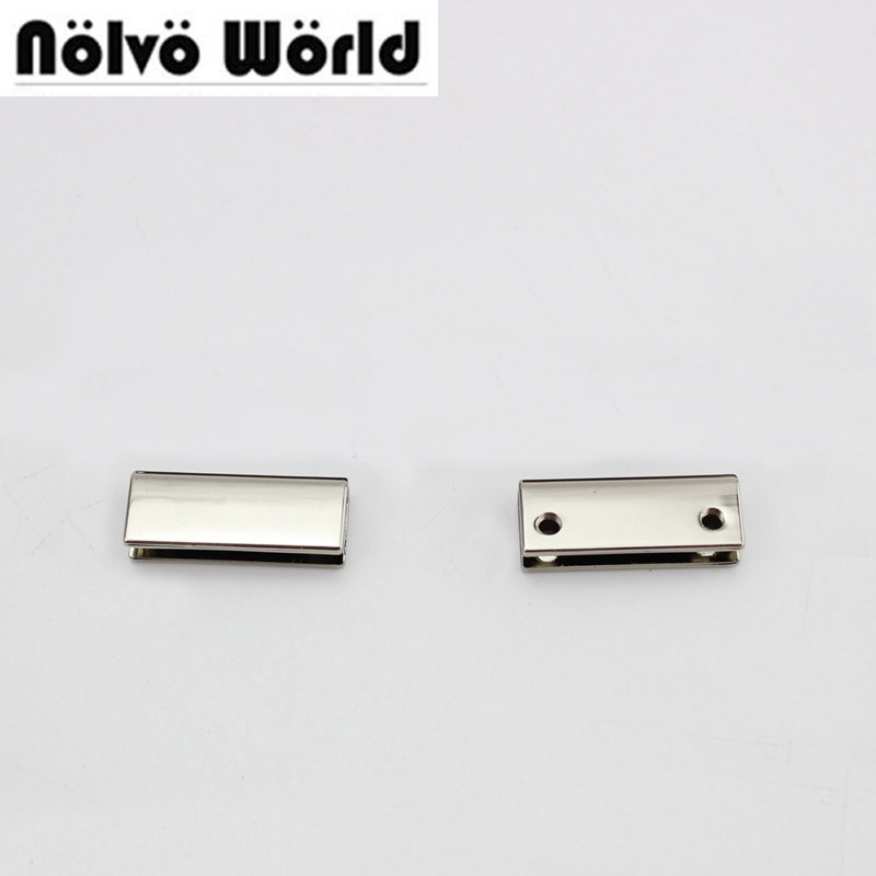 50pcs 7 Colors 25X10mm 1 Inch Handbag Decoration End Clips By Screws,silver Color Square Strap Cover Clasp