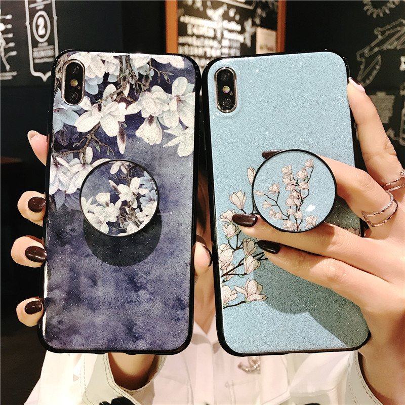 Ring Holder Stand Phone Case For <font><b>OPPO</b></font> A3 A37 A5 A3S <font><b>A57</b></font> A39 A59 F1S A7 AX7 AX5S A5S A71 2018 Flower Soft Silicone <font><b>Cover</b></font> Coque image