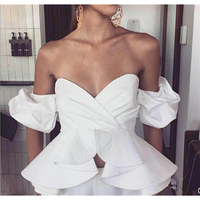 TOP QUALITY New Fashion 2019 Paris Designer Top Women's Strapless Off The Shoulder Ruffle Top Camis